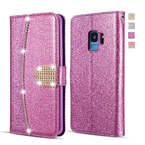 UEEBAI Wallet Flip Case for Samsung Galaxy A5 2017, Premium Glitter Glossy PU Leather Case with Diamond Buckle [Card Slots] [Magnetic Clasp] Stand Function Rhinestone Strap Handbag TPU Cover - Purple