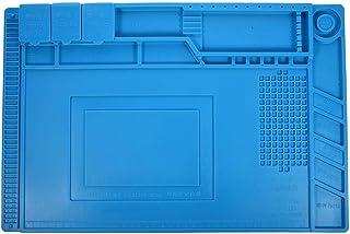 لوحة عازلة للحرارة من السيليكون لسطح المكتب S-160 مقاس 45 × 30 سم - منصة صيانة لمحطة لحام مصفوفة شبكة الكرة مع قسم مغناطيسي