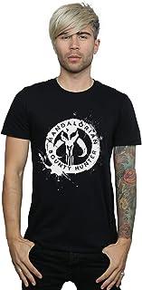Star Wars Men's The Mandalorian Bounty Hunter Splatter Skull T-Shirt