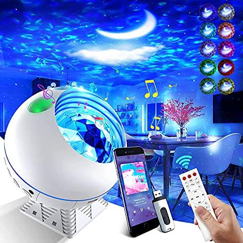 LED Sternenhimmel Projektor Lampe,Galaxy Projector Nachtlicht,Farbwechselnder Musik Player mit Bluetooth /Timer /Fernbedienung für Kinder Erwachsene Party Geburtstag Schlafzimmer Home Decoration