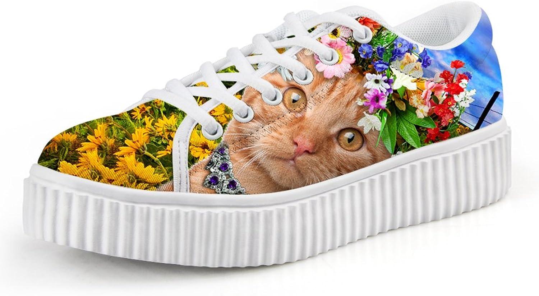 Chaqlin Lace Up Women Platform Flats Cute Kitten Cat Walking shoes 41