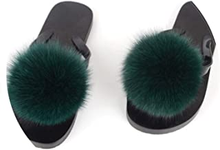 Hot Women Flip Flops Real Fox Fur Slippers Fluffy Fur Pompom Slides Flat Indoor Slippers Cute Ladies Casual Beach Sandals