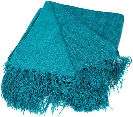Best BIRDROCK HOME Internets Best Chenille Throw Blankets - Teal - Ultra Soft Couch Blanket with Fringe -