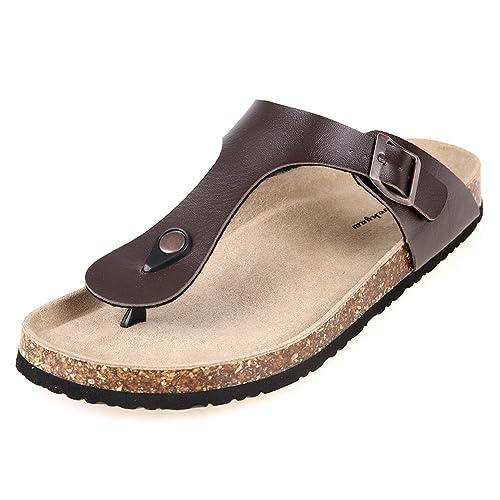 cdcdcc36322125 Pinpochyaw Gizeh Sandals Mens Leather Thong Flip-Flops Cork Sandals (9 B(M