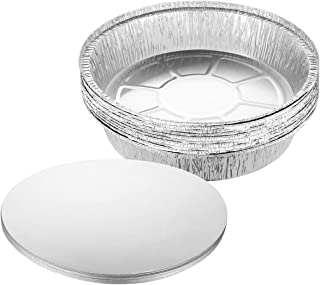 BESTonZON - 20 sartenes redondas de 9 pulgadas de aluminio gruesas, con tapa para cocinar