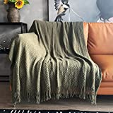 LOMAO Knitted Throw Blanket with Tassels Bubble Textured Lightweight Throws for Couch Cover Home Decor (Dark Olive, 50x60)