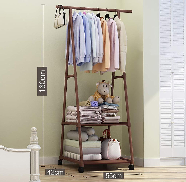 Standing Coat Racks Coat Rack Wheel Rolling Garment Rack 2 Layer Storage Rack for shoes, Clothing (color   D)