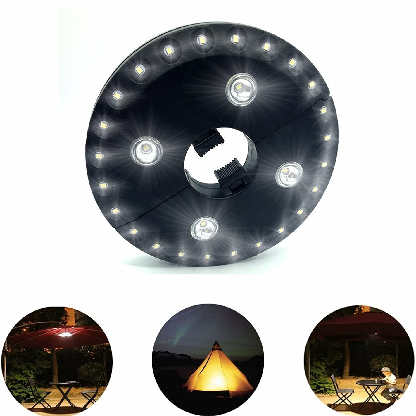 AIDOUT Patio Umbrella Lights - 28 LED Night Light 400 Lumens Umbrella Lights Battery Operated Umbrella Pole Light Outdoor Lighting - 3 Lighting Mode for Patio Umbrellas, Outdoor Use or Camping Tents