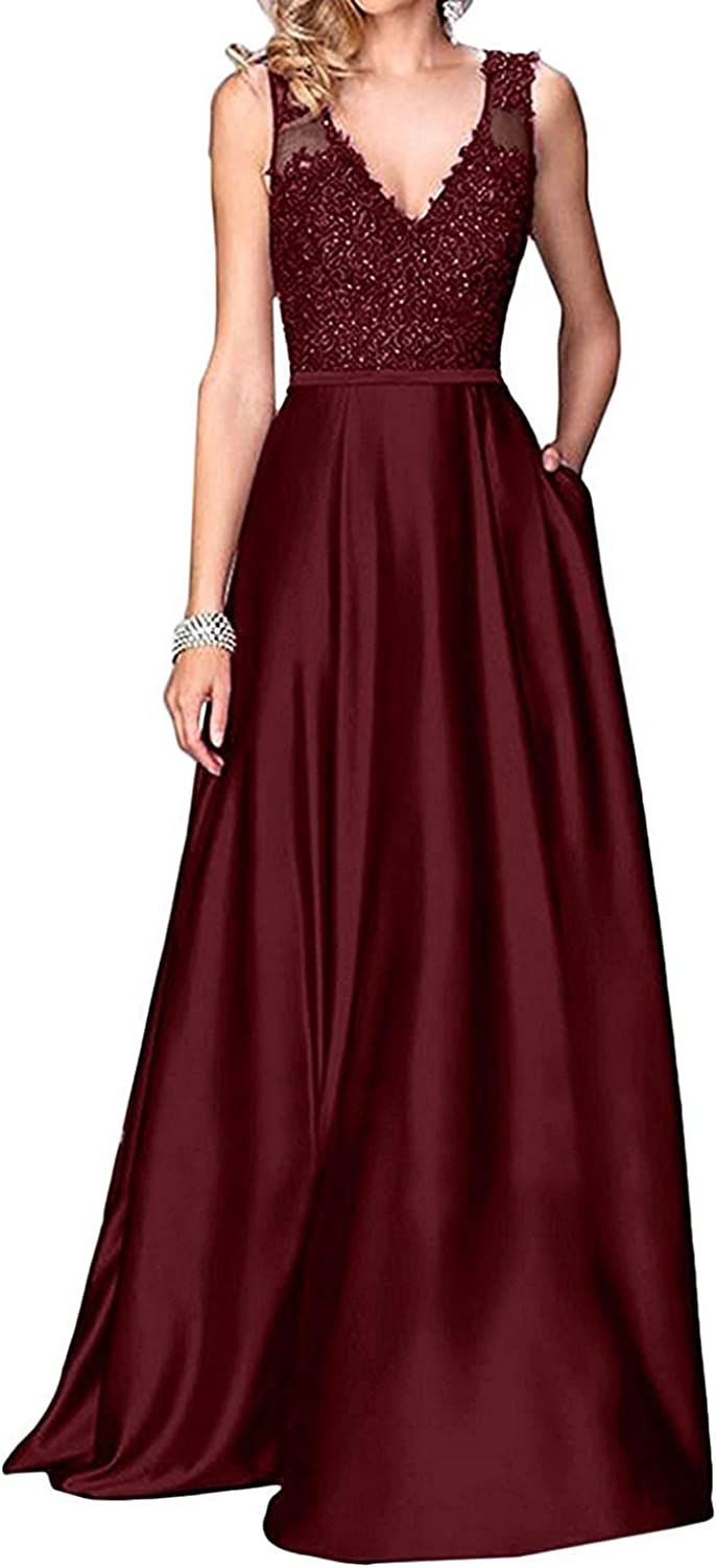 Ruisha Women V Neck Lace Beaded A Line Satin Prom Dresses Evening Gown Long Formal RS0292 Black