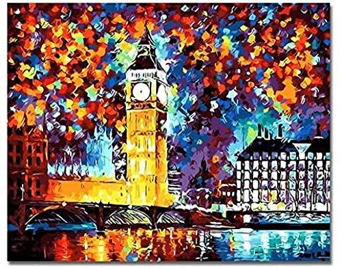 Fanxp Jigsaw Puzzle para adultos, 1000 piezas, reloj Pictures estilo Great Clock Tower City Night Jigsaw, para adultos y niños