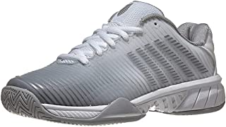 K-Swiss Women's Hypercourt Express 2 Tennis Shoe (White/High-Rise/Silver, 5.5)