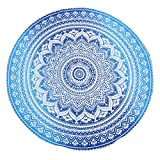 Bleu Mandala Rond Tapisserie Roundie Tapestry Tissu Jete Plage - Chakra Petite Ronde Boho Bohomian Decoratif Tablecloth Chic Coton Round Beach Throw Towel for Picnic and Camping - Blue - 122 Cm