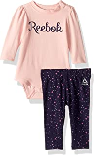 Reebok Baby Girls 2 Piece Long Sleeve Creeper and Heart Print Leggings