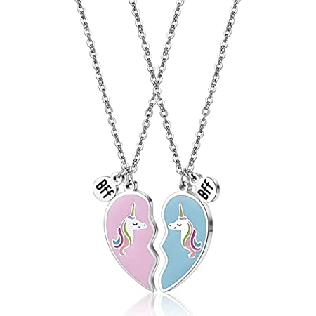 Collar de Unicornio, Collares de Amistad de Unicornio, Colgante de Corazón de Unicornio, Collar de Corazón de Unicornio de Mejor Amigo, para Amigos o Regalo Divertido de Hermana