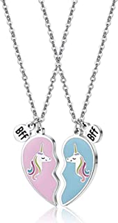 Collana Unicorno, Collane Amicizia Unicorno, Ciondolo Cuore Unicorno, Collana Cuore Unicorno Migliore Amico, per Amici o D...
