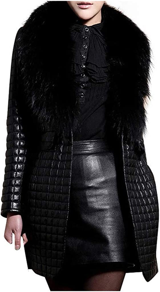 aliveGOT Max 79% OFF Women's 5 popular Winter Thicken Warm Long w Leather Jacket Parka