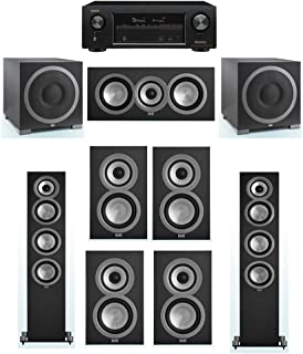 ELAC Uni-Fi 7.2 System with 2 ELAC UF5 Floorstanding Speakers, 1 ELAC UC5 Center Speaker, 4 ELAC UB5 Speaker, 2 ELAC Debut S12EQ Powered Subwoofer, 1 Denon AVR-X1300W Receiver