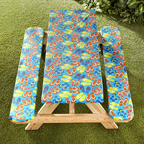 The Lakeside Collection Picnic Table and Bench Seat Covers with Elastic Edges - Flip Flops - 3 Pieces