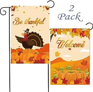 HomyPlaza 2 Pack Thanksgiving Day Garden Flag Pumpkin Maple Turkey Outdoor Decoration Flag Outdoor Yard Flags (for Thanksgiving Day)