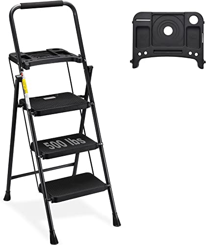 popular HBTower 3 Step popular Ladder with Tool Tray, Folding Step Stool with Wide Non-Slip Pedal outlet sale and Comfort Handgrip for Household and Office, Lightweight 500lbs Capacity Step Ladder, Black online sale