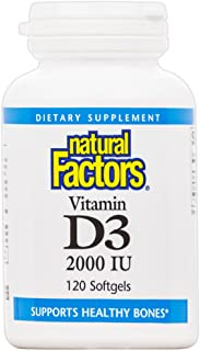 Natural Factors, Vitamin D3 2000 IU, Supports Strong Bones, Teeth, and Muscle and Immune Function, 120 softgels (120 servi...