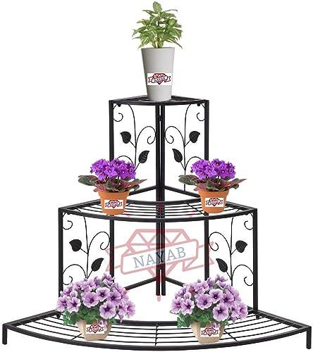 NAYAB Floral Design Metal Step Style 3 Tier Corner Shelf for Flower Pots Planters Holder Display Stand for Garden Bal...