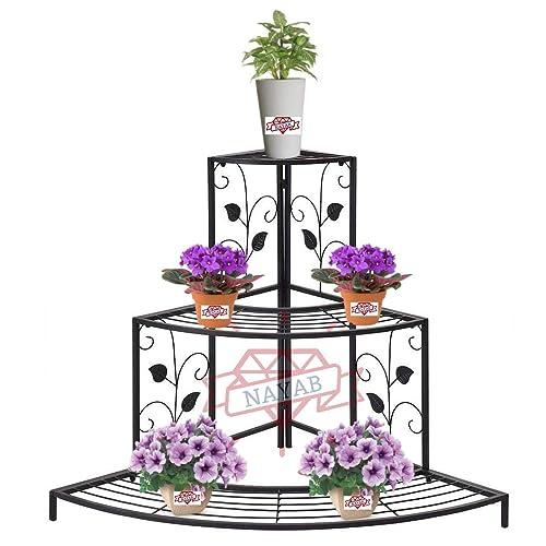 NAYAB Floral Design Metal Step Style 3 Tier Corner Shelf for Flower Pots Planters Holder Display Stand for Garden Balcony Indoor Outdoor Shoe Rack (Black)