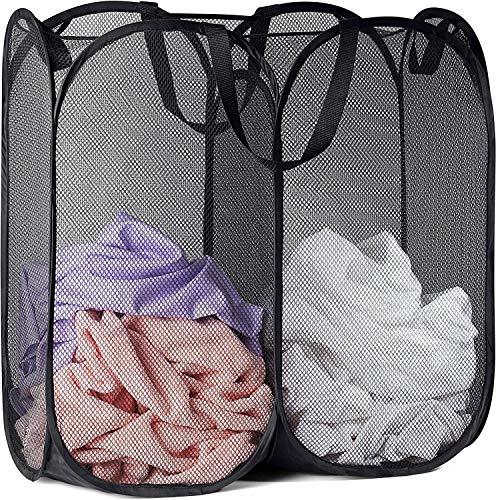 Timotech Cesto plegable de malla con dos compartimentos para almacenamiento, cesto para ropa sucia, canasta para ropa sucia, canasta de lavandería, cesta de dos secciones para ropa, cesta de almacenamiento (negro)