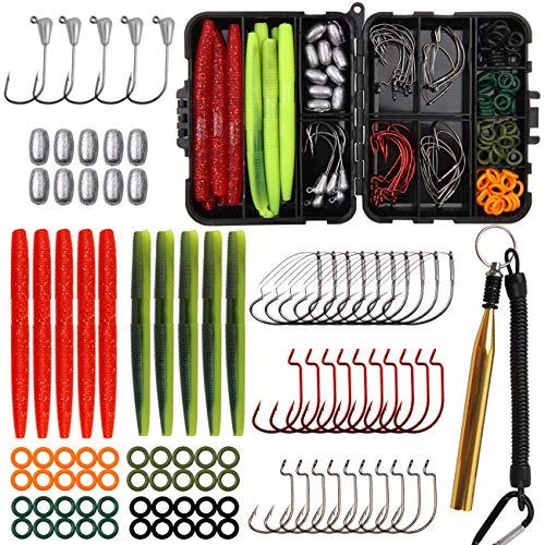 JSHANMEI Wacky Rig Fishing Worm Kit, Wacky Soft Bait Weedless Hook Jig Head Hook O-Rings Wacky Rig Tool Fishing Lures Tackle Box Kit