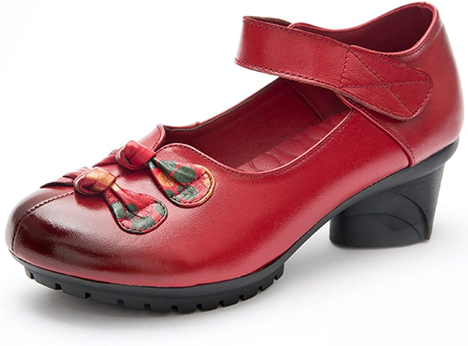 Duberess Women's Soft Real Leather Comfortable Round Toe Mid Heel Mary Jane shoes