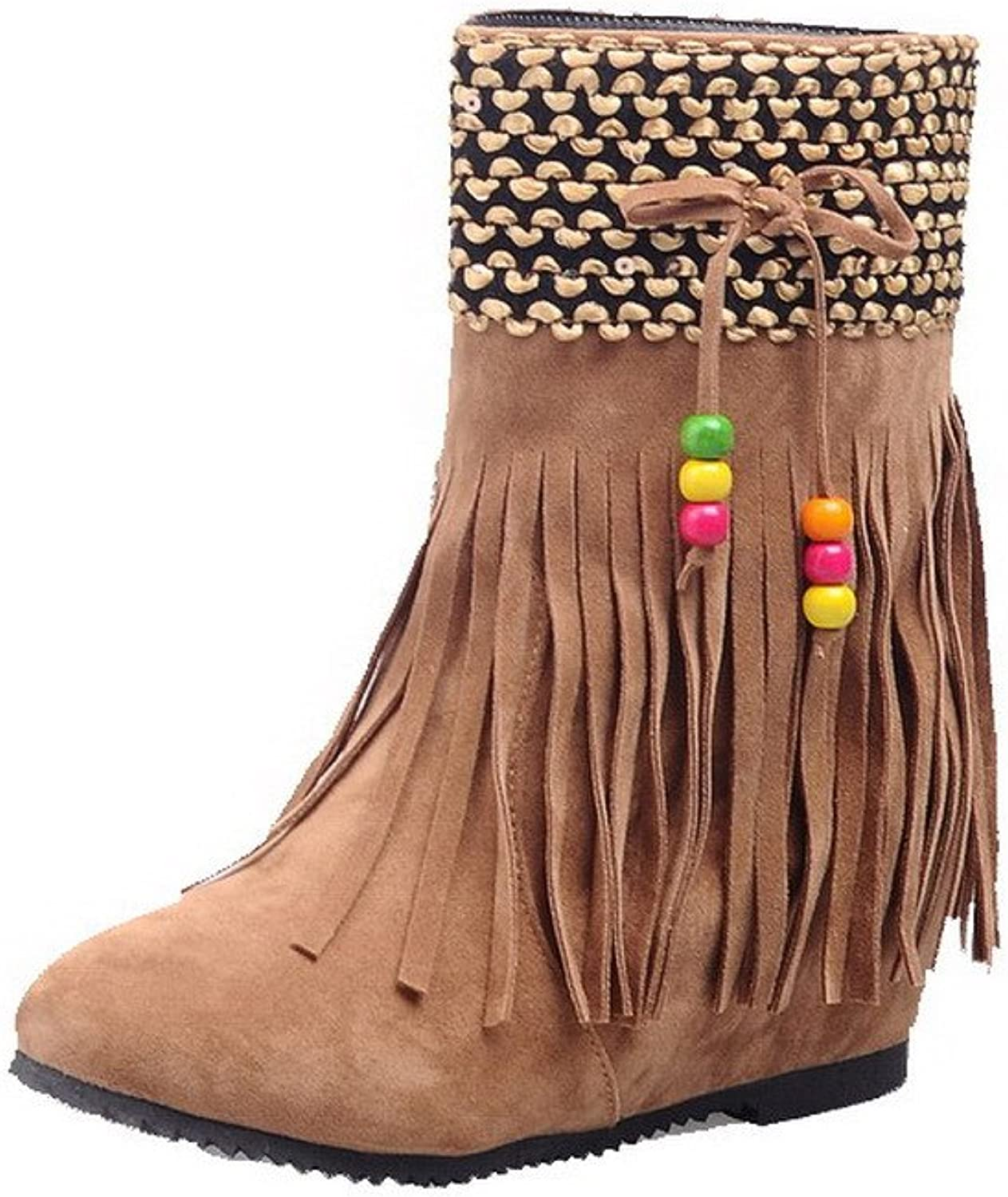 AllhqFashion Women's Pull-On High-Heels Imitated Suede Solid Low-Top Boots with Tassels