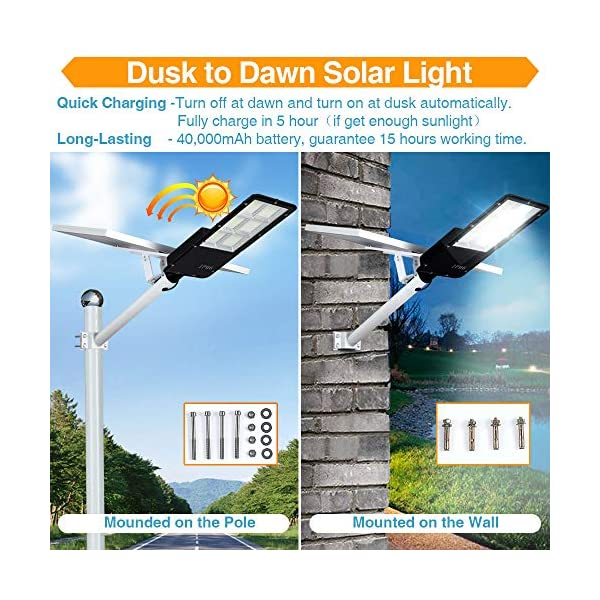 300W LED Solar Street Lights, Outdoor Dusk to Dawn Pole Light with Remote Control, Waterproof, Ideal for Parking Lot…