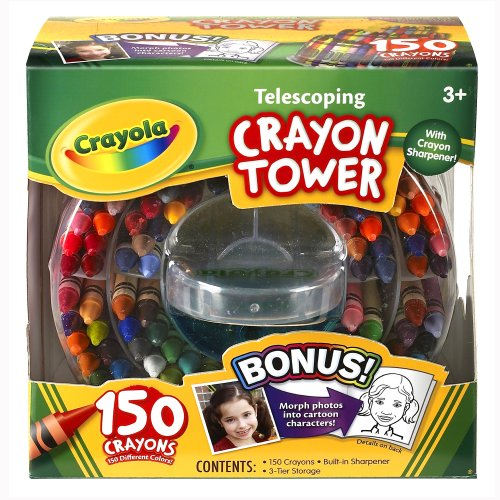 Crayola 150-Count Telescoping Crayon Tower, Storage Case, Sharpener, (52-0029)