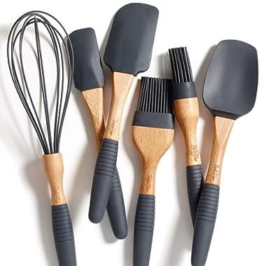 "PortoFino 6 Pc. Baking Utensil Set – Beech Wood & Silicone – Cooking / Kitchen Tools – 9"" Large Spatula, Small Spatula, Spoon Spatula, Flat Pastry Brush, Round Pastry Brush, 12"" Whisk, Gray"