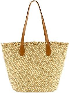 GSERA Zweifarbige Papierseil Stroh Tasche Große Kapazität Gewebte Tasche Schulter Lässig Strandhandtasche