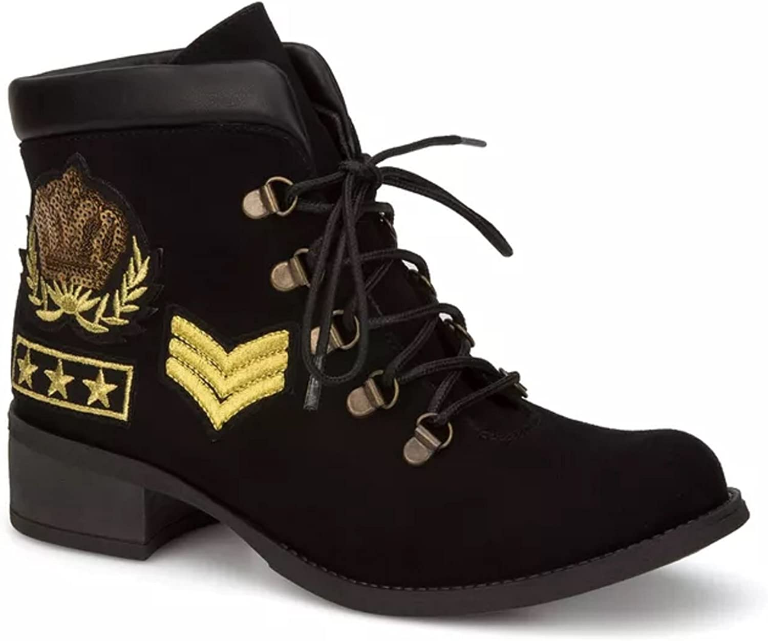 Andrea shoes Black Velvet and Embroidered Fashion Women's Combat Low Boots