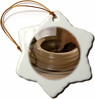 3dRose LLC ORN_86881_1 Porcelain Snowflake Ornament, 3-Inch, Nicaragua, Catarina Pottery Wheel and Clay-John and Lisa Merrill