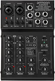 ammoon 4-Channel Mixing Console Digital Audio Mixer 2-band EQ Built-in 48V Phantom Power 5V USB Powered for Home Studio Recording DJ Network Live Broadcast