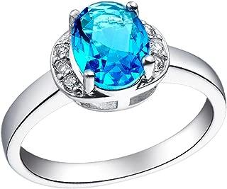 Epinki, 18k White Gold Plated Fashion Jewelry Rings Egg-Shaped Semi-Precious Stones