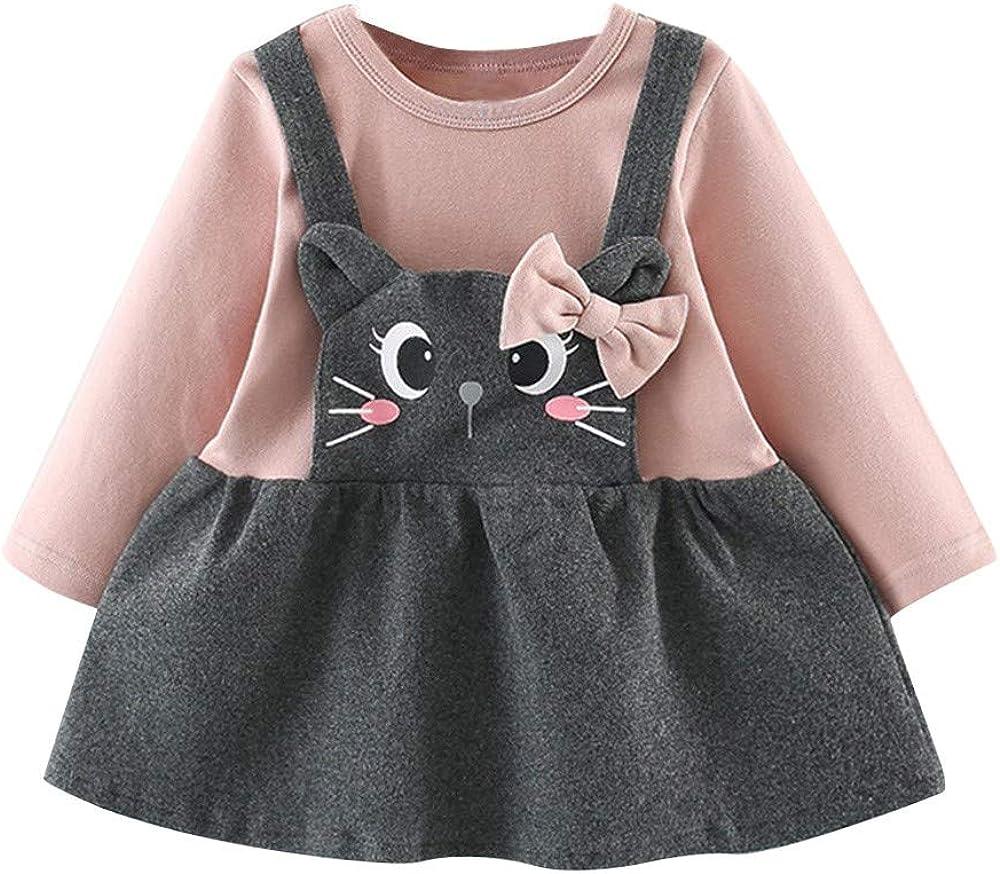 3 a/ños Manga Largas Vestido Peto Princesa Nina Mono Reci/én Nacidos Falda Casual Estampado Gato Vestido para Bebe Ni/ña Fiesta Bautiz Primavera 2019,PAOLIAN Conjunto Beb/é Ni/ña 12 Meses