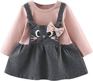 K-youth Los niños de Manga Larga de Dibujos Animados Gato impresión Pajarita Falso Falda Princesa Vestidos Niña Ropa Bebe ...