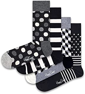 Happy Socks Men's Classic Black & White 4-Pack Gift Set Socks, Black, 7-12