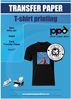 """PPD Inkjet Iron-On Dark T Shirt Transfers Paper 11x17"""" Pack of 50 Sheets (PPD107-50)"""