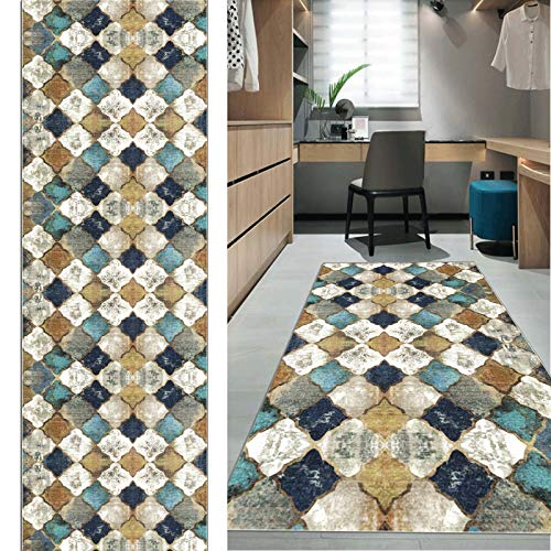 FKYUH Teppich Läufer Flur rutschfest Korridor Kurzflor Brücke Modern Marokkanisch Geometrisch Gitter Muster Verschiedene Größen (Size : 60x200cm)