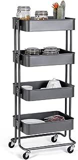 Giantex Rolling Utility Cart Mobile Storage Organizer Multifunctional Home Office Storage Trolley Serving Cart w/Metal Mesh Shelves Lockable Wheels (Gray, 4-Tier)