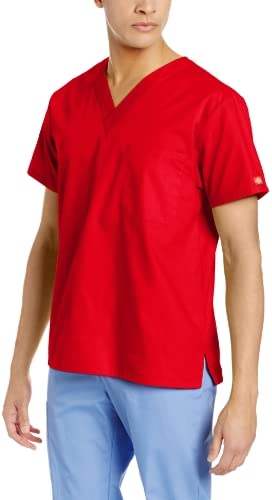 Dickies Men s Signature V Neck Scrubs Shirt Red Large product image
