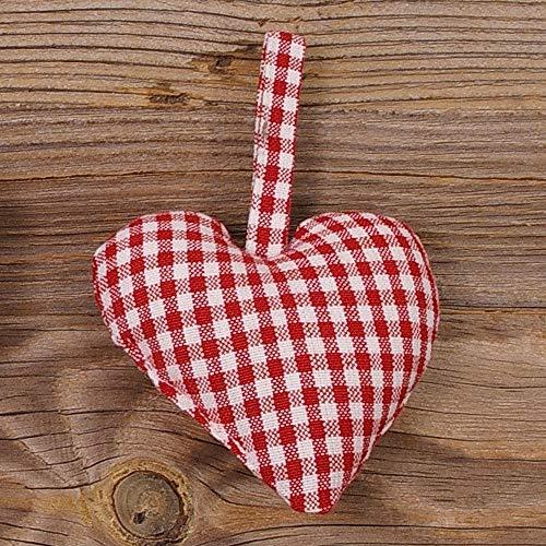 matches21 Dekohänger Herzanhänger Stoffherz Landhaus Premium Gerti weiß rot kleinkariert mit Aufhänger 10x10 cm cm 1 STK