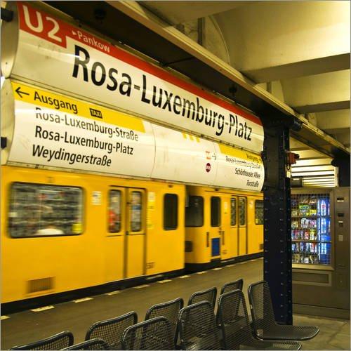 Poster 30 x 30 cm: Rosa Luxemburg Platz - U Bahnhof - Berlin Mitte von Captain Silva - hochwertiger Kunstdruck, neues Kunstposter