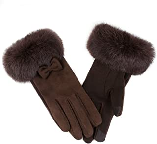 HENGIGGI Womens Winter Gloves with Fluffy Cuff Splicing Fleece Lining Thermal Screen Touch Gloves (Coffee)