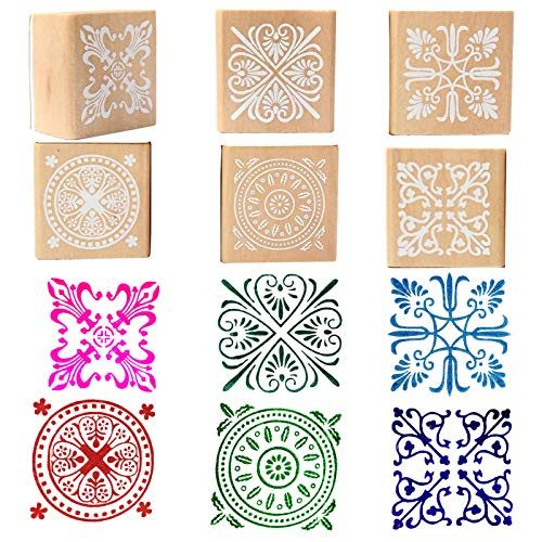 Rubber Stamps Wood Floral Pattern Decorative Craft Stamp for Card Making, Scrapbooking & DIY Craft Designs